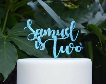 Age Two Custom/Personalized Name Birthday Cake Topper - Assorted Colours