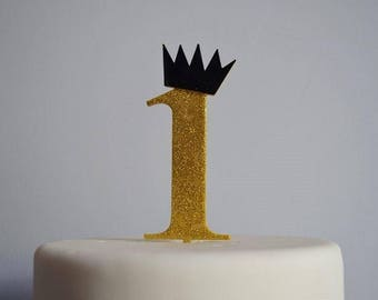 One with Crown Birthday Cake Topper - 1st Birthday Cake Topper - Assorted Colours