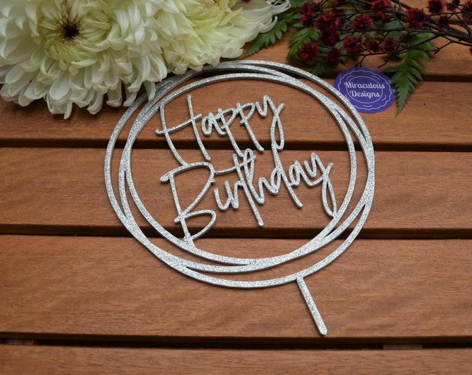 Happy Birthday Ring Cake Topper - Assorted Colours