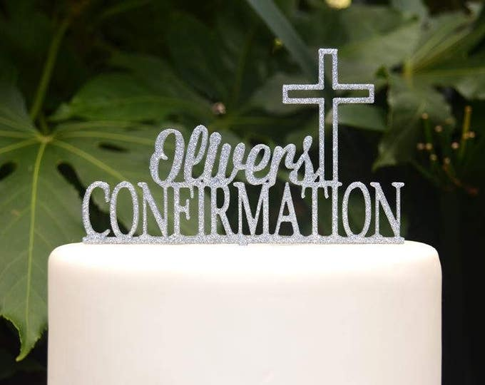 Confirmation Cross Baptism Christening First Communion Custom Personalized Name Cake Topper