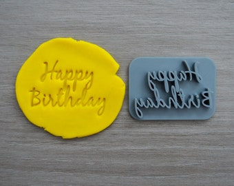 Happy Birthday Font 3 Imprint Cookie/Fondant/Soap/Embosser Stamp