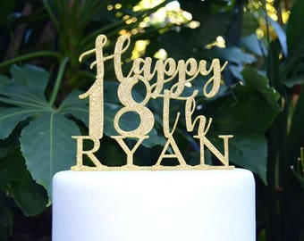 Happy 18th Birthday Custom/Personalized Name Cake Topper - Assorted Colours