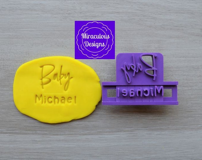 Baby Name Font 2 DIY Stamp/Holder Imprint Wedding Engagement Cookie/Fondant/Soap/Embosser Stamp