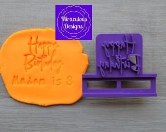 Happy Birthday Name DIY Stamp/Holder Imprint Wedding Engagement Cookie/Fondant/Soap/Embosser Stamp
