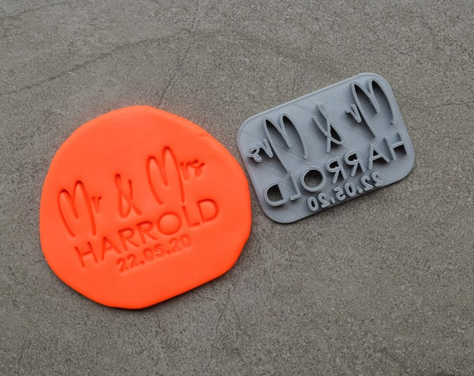 Mr & Mrs Custom V4 Personalized Name And Date Imprint Wedding Engagement Cookie/Fondant/Soap/Embosser Stamp