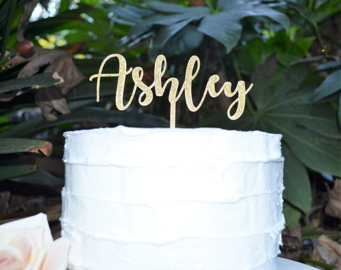 Custom Personalized Name Cake Topper Font 2 - Birthday Cake Topper -  Baptism Christening Cake Topper - Assorted Colours