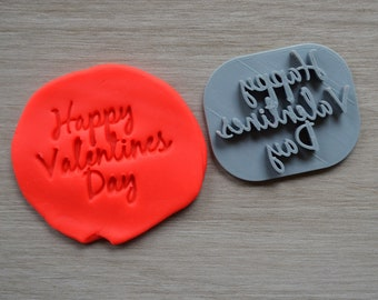 Happy Valentines Day Imprint Font 2 Cookie/Fondant/Soap/Embosser Stamp