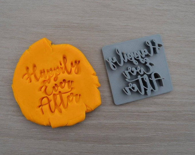 Happily Ever After Imprint Font 1 Cookie/Fondant/Soap/Embosser Stamp