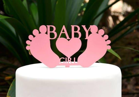 Baby Girl Cake Topper - Baby Shower Cake Topper - Baby Feet Cake Topper
