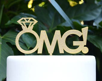 OMG! Cake Topper - Engagement Cake Topper - Assorted Colours