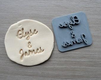 Custom Name and Name Font 3 Imprint Cookie/Fondant/Soap/Embosser Stamp