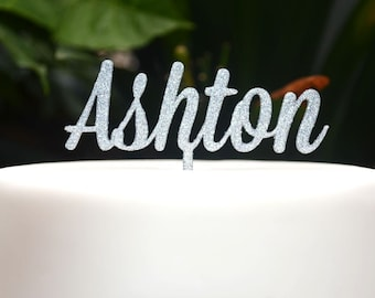 Custom Personalized Name Cake Topper Font 1 - Birthday Cake Topper -  Baptism Christening Cake Topper - Assorted Colours