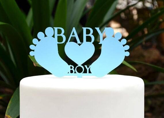 Baby Boy Cake Topper - Baby Shower Cake Topper - Baby Feet Cake Topper