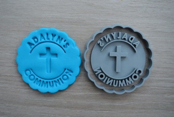 Communion Any Name and Cross Cookie Cutter Fondant Cutter Stamp Party Favor Cake Topper Custom/Personalised
