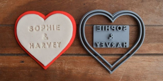 Heart Wedding Shower Bridal Anniversary Engagement Valentine Party Name Cookie/Fondant Cutter Set Custom Names