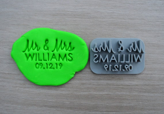 Mr & Mrs Custom V1 Personalized Name And Date Imprint Wedding Engagement Cookie/Fondant/Soap/Embosser Stamp