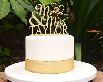 Mr & Mrs Wedding Custom Personalized Name Cake Topper - Bride and Groom Wedding Hearts Cake Topper