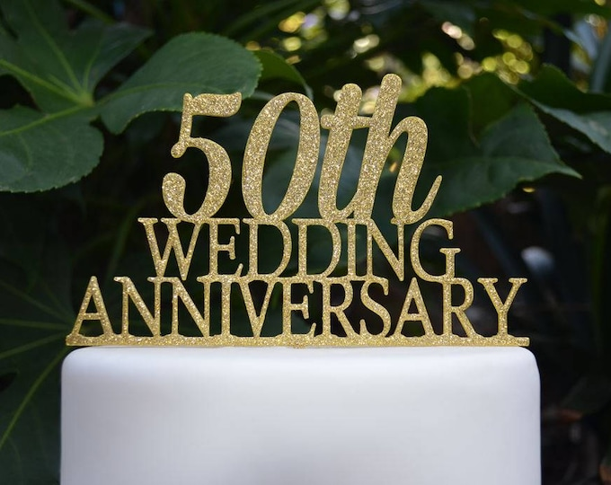 50th Wedding Anniversary Cake Topper - Assorted Colours
