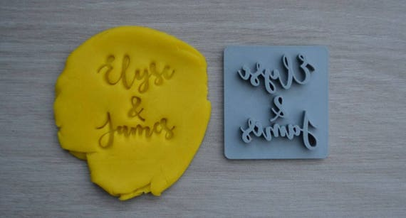 Custom Name and Name Font 2 Imprint Cookie/Fondant/Soap/Embosser Stamp