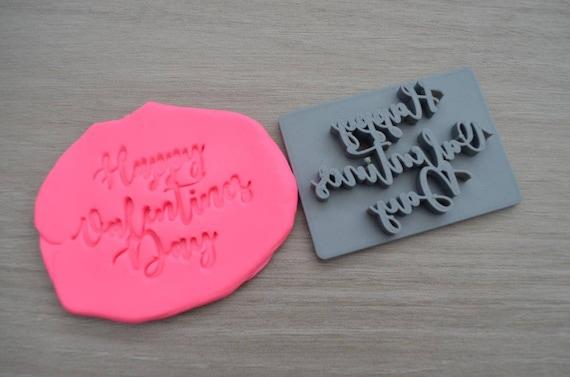 Happy Valentines Day Imprint Font 1 Cookie/Fondant/Soap/Embosser Stamp