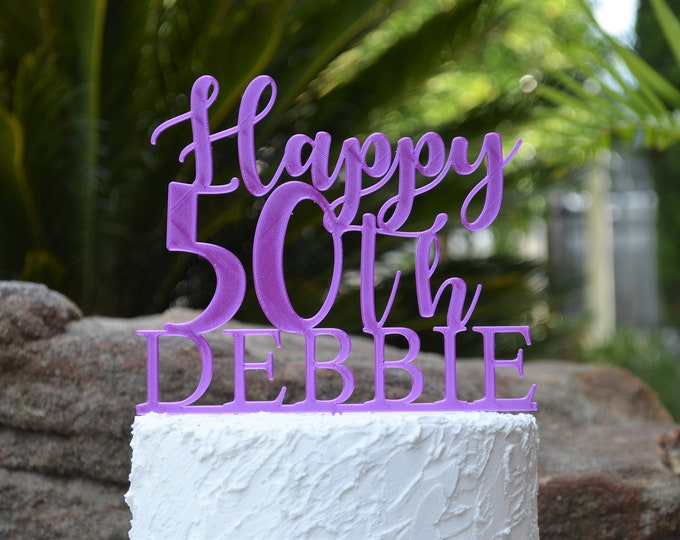 Happy 50th Birthday Custom/Personalized Name Cake Topper - Assorted Colours