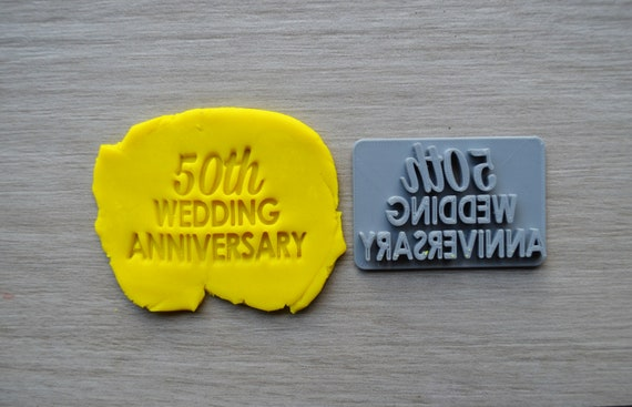 50th Wedding Anniversary Imprint Cookie/Fondant/Soap/Embosser Stamp
