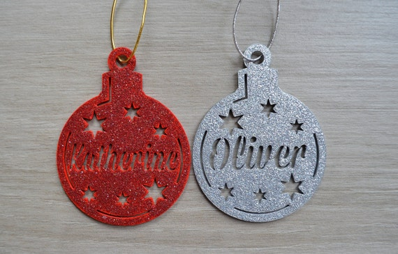 Christmas Name Bauble Gift Name Tag  - Assorted Colours