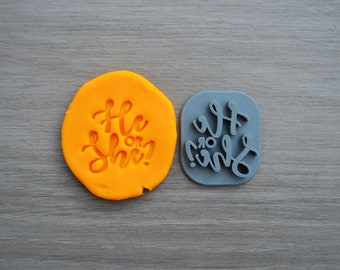 He or She Imprint 3.3cm Cookie/Fondant/Soap/Embosser Stamp