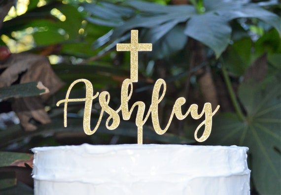 Name Cake Topper Cross Baptism Christening Confirmation Custom Personalized Cake Topper Font 2