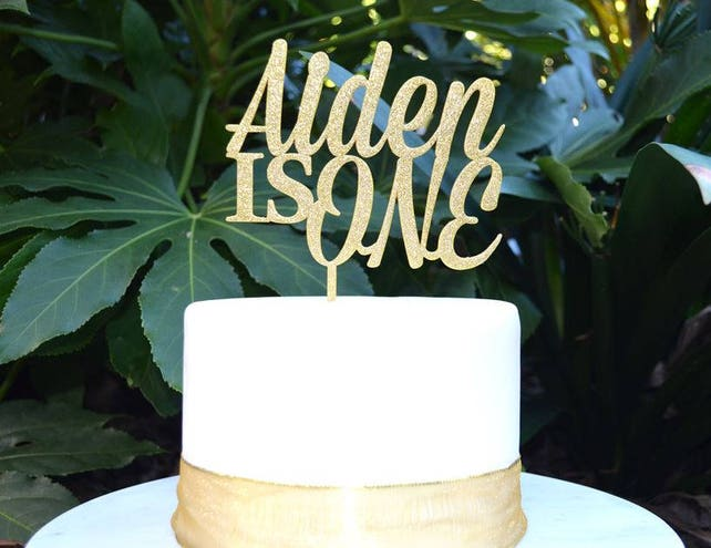 Age One Custom Personalized Name Birthday Cake Topper