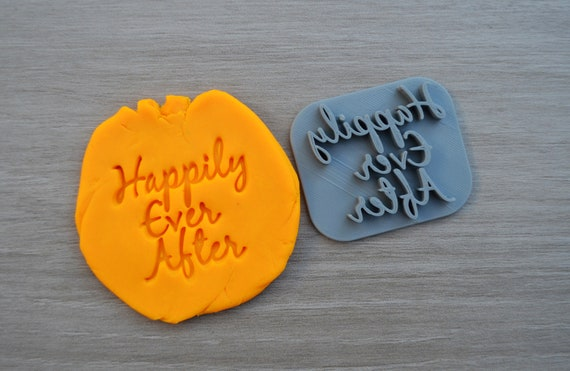 Happily Ever After Imprint Font 2 Cookie/Fondant/Soap/Embosser Stamp