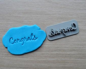Congrats Font 2 Imprint Cookie/Fondant/Soap/Embosser Stamp