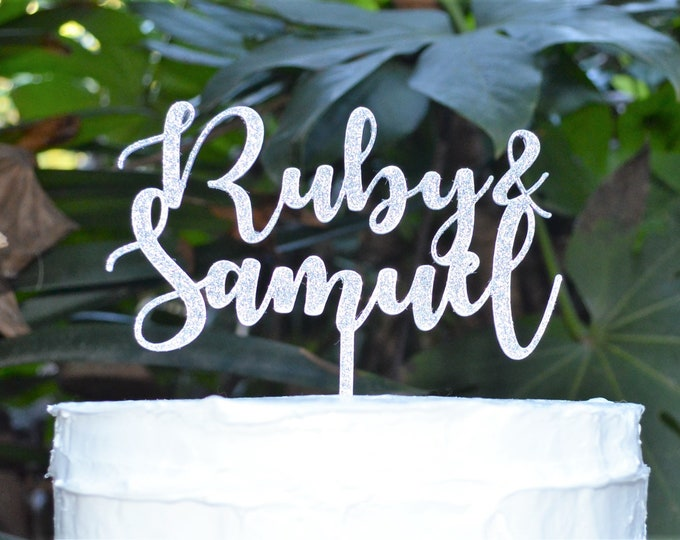 Name and Name Cake Topper - Wedding Baby Custom Personalized Name Cake Topper