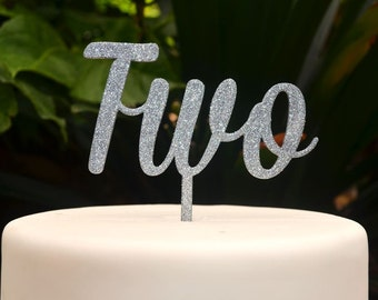 Age Two Birthday Cake Topper - 2nd Birthday Cake Topper - Assorted Colours