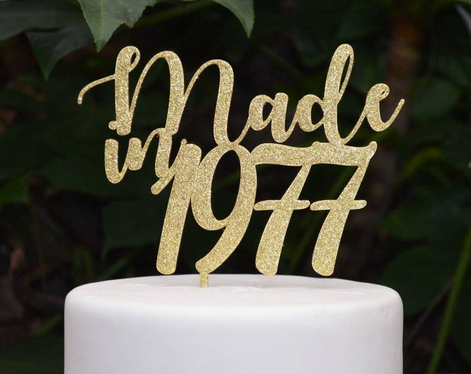 Made in Year Cake Topper - Assorted Colours