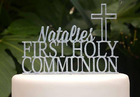 First Holy Communion Cross Baptism Christening Confirmation Custom Personalized Name Cake Topper