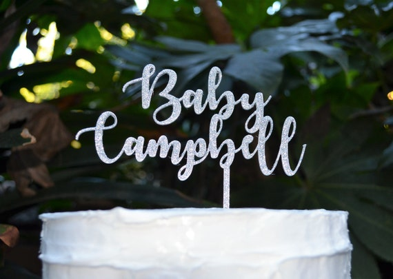 Baby Name Cake Topper Custom Personalized - Baby Shower Cake Topper - Baby Boy Baby Girl Cake Topper Font 2