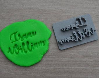 Custom Name 2 line Imprint Font 1 Cookie/Fondant/Soap/Embosser Stamp
