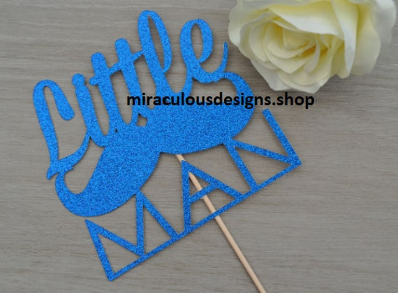 Little Man Cake Topper - Baby Shower Cake Topper - Baby Boy Cake Topper - Assorted Colours