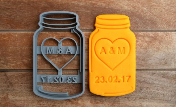Mason Jar Wedding Shower Bridal Anniversary Engagement Party Cookie Cutter Fondant Cutter Party Favor Custom/Personalised