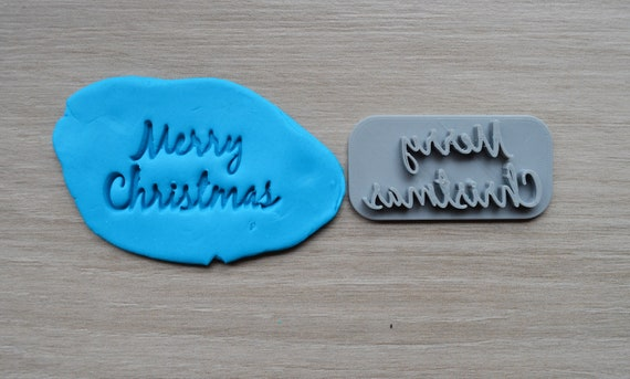 Merry Christmas Imprint Font 2 Cookie/Fondant/Soap/Embosser Stamp