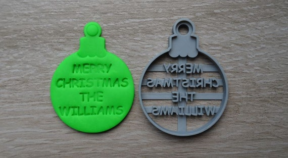 Christmas Bauble Cookie Cutter Fondant Cutter Cake Topper Custom/Personalised