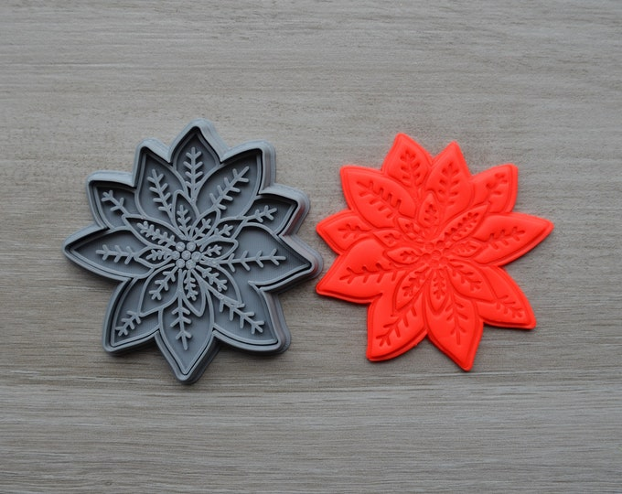 Poinsettia Christmas Flower Cookie Fondant Cutter & Stamp Fondant