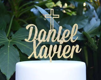 Two Names - Name Cake Topper Cross Baptism Christening Confirmation Custom Personalized Cake Topper