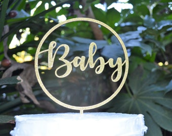 Circle Baby Cake Topper - Baby Shower Cake Topper - Baby Boy Baby Girl Cake Topper
