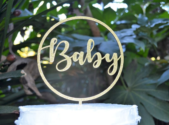 Circle Baby Cake Topper - Baby Shower Cake Topper - Baby Boy Baby Girl Cake Topper