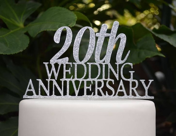 20th Wedding Anniversary Cake Topper - Assorted Colours