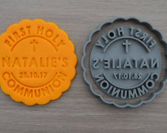 First Holy Communion Any Name and Date Cookie Cutter Fondant Cutter Stamp Party Favor Cake Topper Custom/Personalised