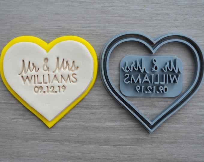 Heart V1 Wedding Shower Bridal Anniversary Engagement Valentine Party Name & Date Cookie/Fondant Cutter Set Custom Names