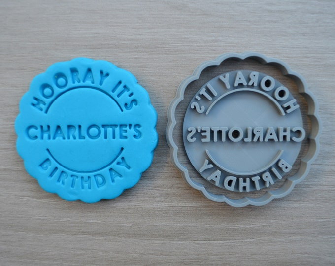 Hooray its Name Birthday Name Cookie Cutter Fondant Cutter Stamp Party Favor Cake Topper Custom/Personalised
